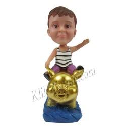 Patung Kiddies Ride Golden Pig