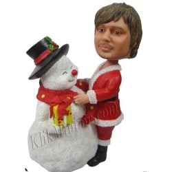 Patung Christmas Making Snowman